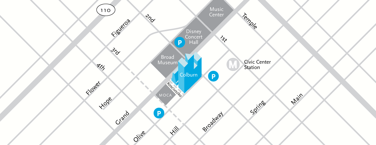 Street map of Colburn with indicators for parking lot locations